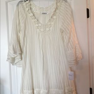 Dresses & Skirts - Cream dress or cover up size Large
